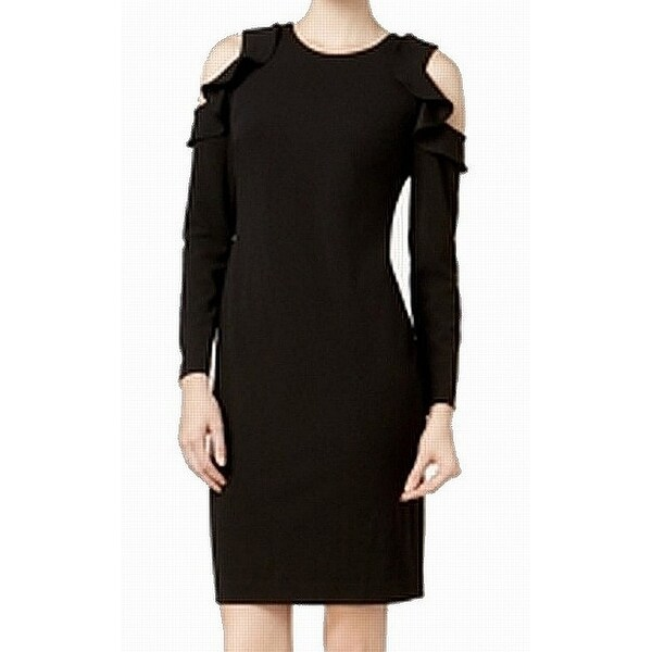 ead05111 Shop Calvin Klein Womens Ruffle Cold Shoulder Sheath Dress - On Sale - Free  Shipping On Orders Over $45 - Overstock - 26985518