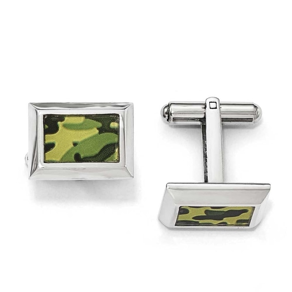 Chisel Stainless Steel Polished Printed Green Camo Under Rubber Cuff Links