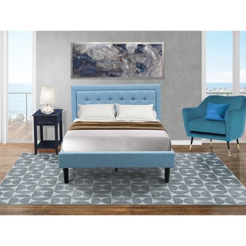 Fannin Full Size Bed Set with Full Bed and an End Table for bedroom - Denim Blue Linen Fabric