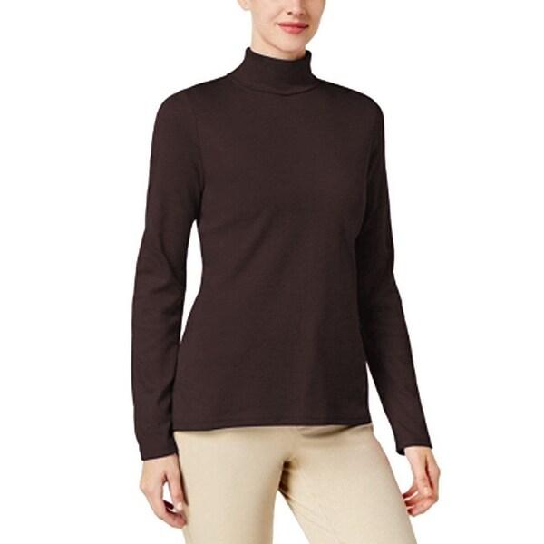 Karen Scott Women/'s Cotton Long-Sleeve Turtleneck Chocolate Size 2 Extra Large