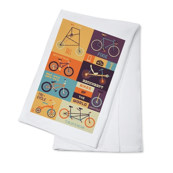 Bicycle of the World - Lantern Press Artwork (100% Cotton Towel Absorbent)