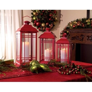 """Set of 3 Red Multi-Sized Mission-Style Pillar Candle Lanterns 20"""""""
