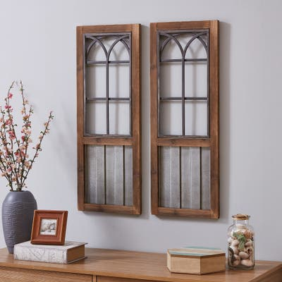 Willow Farmhouse Window Wall Plaque Set, Metal, 12 x 1 x 31.5 in, American Designed