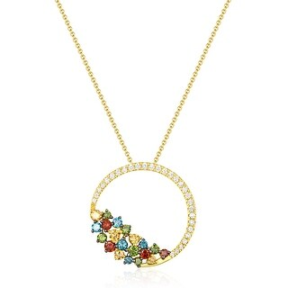 0.63Ct Round Brilliant Cut G-H/SI1 Multi Color Diamond & White Diamond Pendant