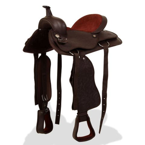 "vidaXL Western Saddle w/ Horse Headstall&Breast Collar Real Leather 15"" Brown"