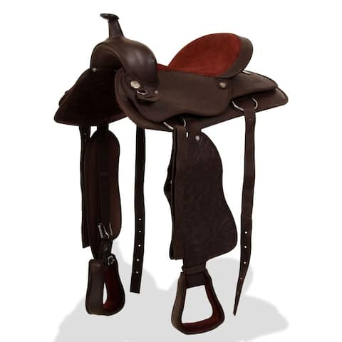 "vidaXL Western Saddle w/ Horse Headstall&Breast Collar Real Leather 17"" Brown"