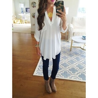Loose Fit V-Neck Tunic with High/Low Hem- Up to Size 5x
