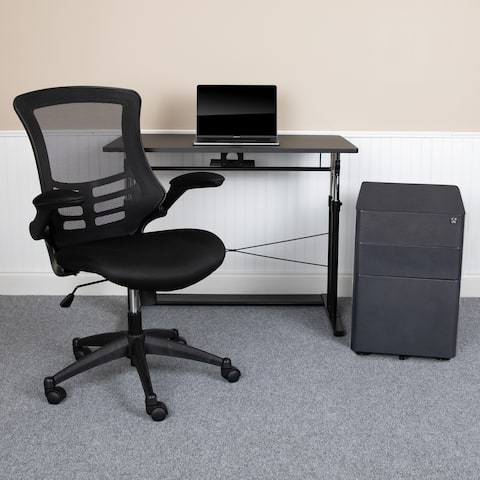 3PC Office Set-Adjustable Desk, Ergonomic Mesh Office Chair, Filing Cabinet
