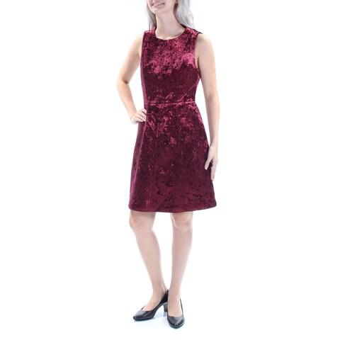 RACHEL ROY Womens Maroon Velvet Sleeveless Scoop Neck Above The Knee Fit + Flare Party Dress Size: 2