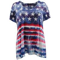 Women Plus Size Short Sleeve American Flag Knit Top Tee T Shirt Blue Red
