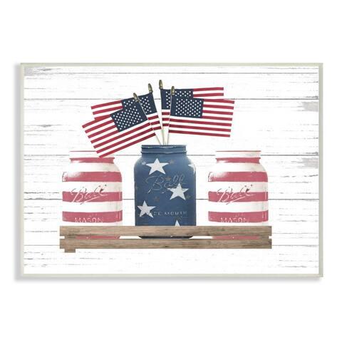 Stupell Industries Rustic Patriotic Jars American Pride Flag Design Wood Wall Art