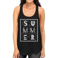 Summer Geometric Lettering Womens Black Sleeveless Shirt For Summer