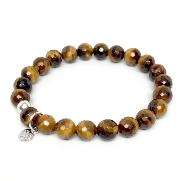 "Brown Tiger's Eye Lucy 7"" Sterling Silver Stretch Bracelet"