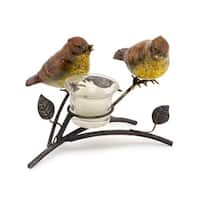 """Set of 4 Brown and Yellow Decorative Birds on a Brown Branch with a Tea Light Holder 5""""H"""