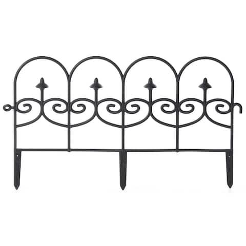 Vinyl Wrought Iron- Look Garden Ornamental Edging, Lawn Picket Fence