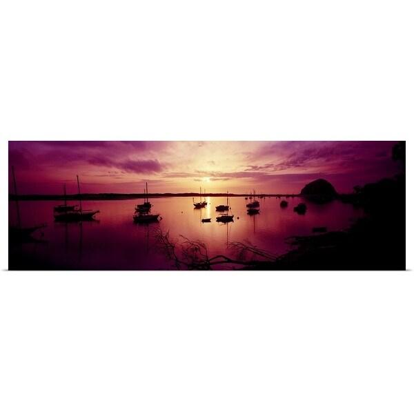 """""""Boats in the sea, Morro Bay, San Luis Obispo County, California"""" Poster Print"""