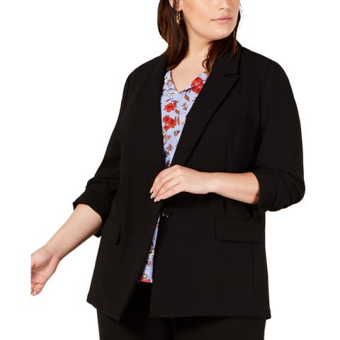 BAR III Womens Jacket Black Size 1X Plus Textured One-Button Solid