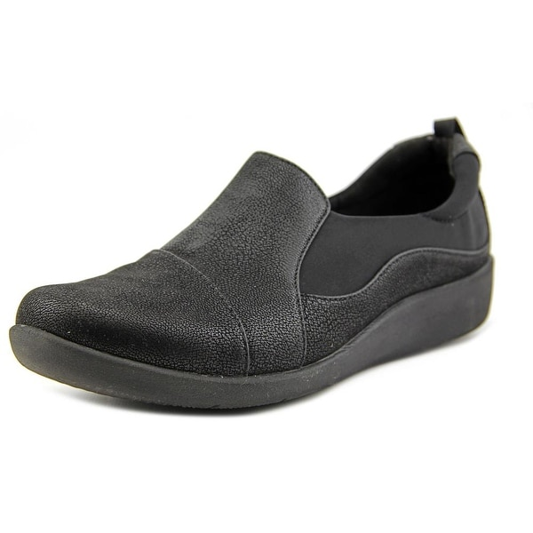Clarks Narrative Sillian Paz Women Round Toe Canvas Black Loafer