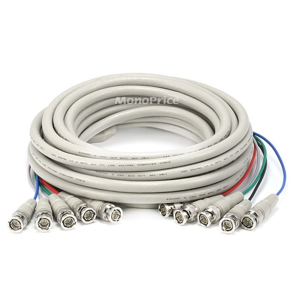 Monoprice 25ft 5x BNC Male to 5x BNC Male RGB Video Cable - White