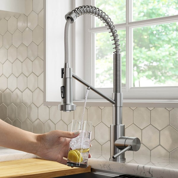 Kraus Bolden 2-Function 1-Handle Commercial Pulldown Kitchen Faucet. Opens flyout.