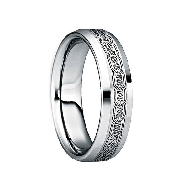 Celtic Knot Wedding Bands.Sabinus Polished Beveled Tungsten Wedding Band With Engraved Black Celtic Knot By Crown Ring