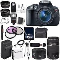 Canon EOS Rebel T5i 18 MP CMOS Digital SLR Camera w/EF-S 18-55mm f/3.5-5.6 Lens (International Model) Bundle (AF6CANONT5IB194)