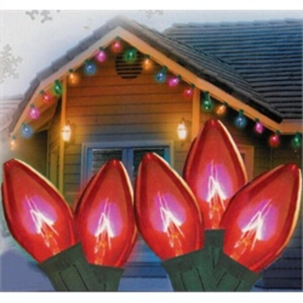 "Set of 25 Transparent Red C7 Christmas Lights 12"" Spacing - Green Wire"