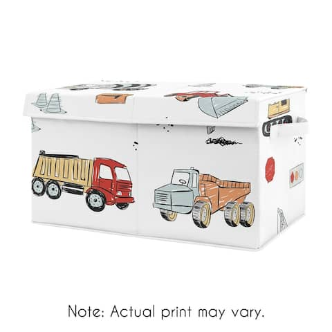 Construction Truck Collection Boy Kids Fabric Toy Bin Storage - Grey Yellow Orange Red and Blue Transportation