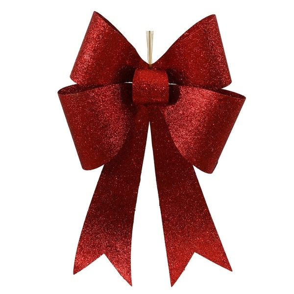 """Large 24"""" Commercial Sized Sparkling Red Glitter 4 Loop Christmas Bow"""
