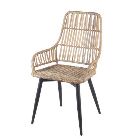 Black/Natural Metal/Rattan Chair