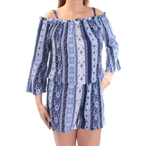 INC Womens Blue Cold Shoulder Ruffled Geometric Bell Sleeve Square Neck Straight leg Romper Size: L
