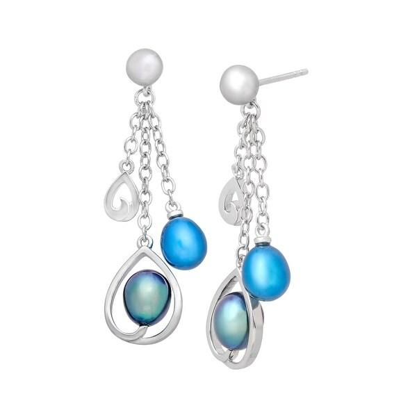 Honora Morning Dew Blue Freshwater Pearl Drop Earrings in Sterling Silver