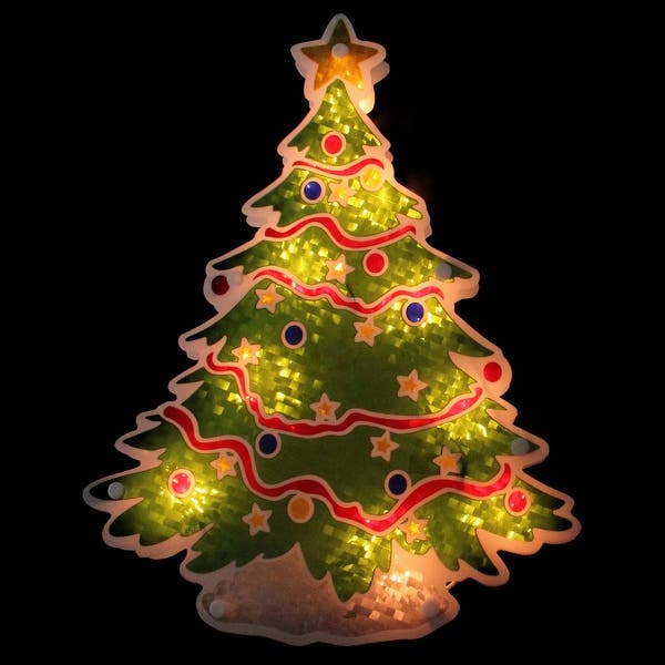 Holographic Christmas Tree.Shop 12 5 Glazed Lighted Holographic Christmas Tree Window