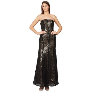 ML Monique Lhuillier  Strapless Sequined Mermaid Evening Gown Dress - 2