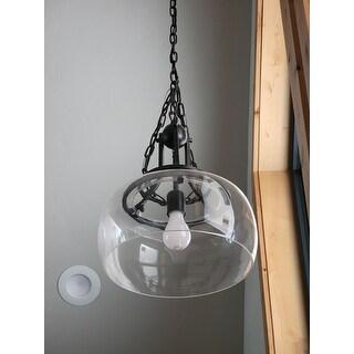 Luna Antique Black Single Light Clear Glass Bowl Pendant Chandelier