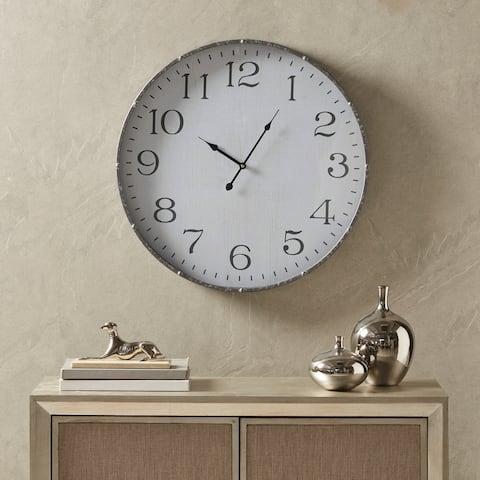 Martha Stewart Duke White/ Silver Round Clock
