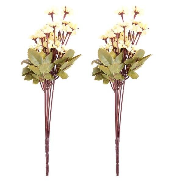 Dorm Table Ornament Fabric Craft Artificial Flower Bouquet Light Yellow 13 Inch Height 2pcs