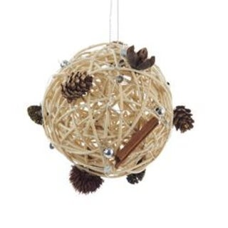 Club Pack of 12 Rattan Ball with Pine Cone Accents Christmas Ornament 3.5""