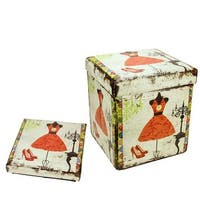 """15"""" Decorative Vintage Dress and Fashion Collapsible Wooden Storage Ottoman - Multi"""