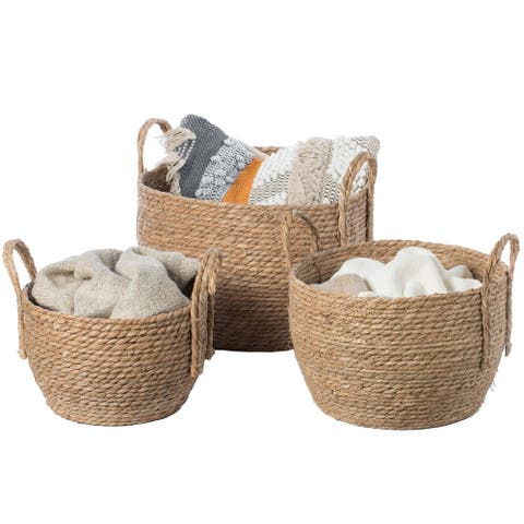 Decorative Round Wicker Woven Rope Storage Blanket Basket with Braided Handles - Set of 3
