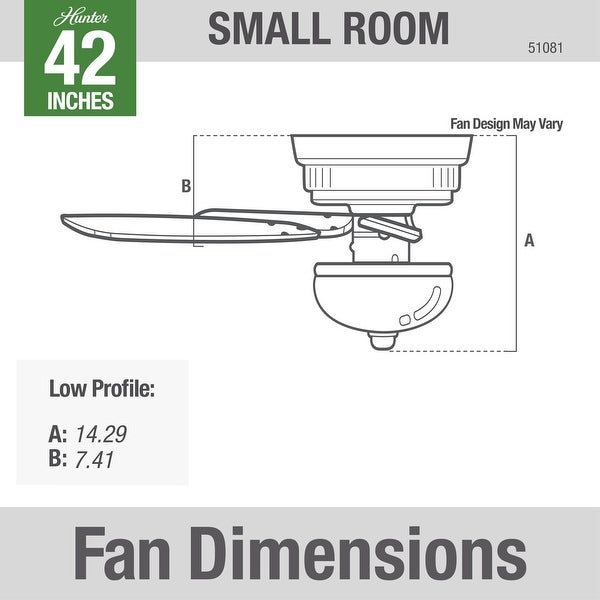 """Hunter 42"""" Newsome Low Profile Ceiling Fan with LED Bowl Light Kit and Pull Chain"""