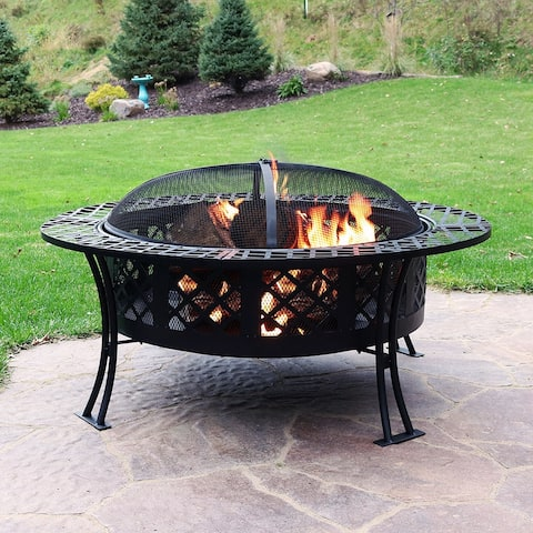 Sunnydaze Diamond Weave Large Patio Fire Pit with Spark Screen - 40-Inch - Diamond Weave - 40 Inch