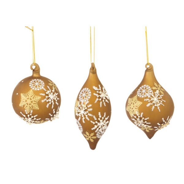 "Club Pack of 12 Gold Glass with Snowflakes Ball, Onion and Finial Christmas Ornaments 3""-5.5"""