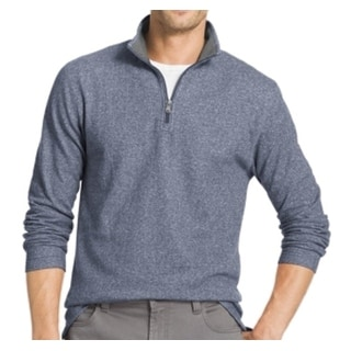 IZOD NEW Anchor Blue Heathered Mens Size Medium M Quarter Zip Sweater