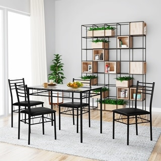 VECELO Dining Table Set, Glass Table and 4 Chairs Metal Kitchen Room ...