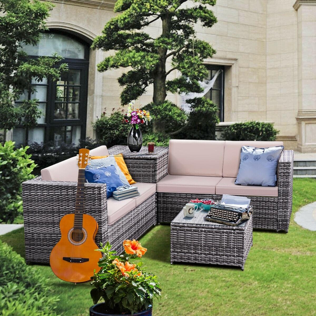Costway 4pcs Patio Rattan Wicker Furniture Set Sofa Loveseat Cushioned Overstock 16339809