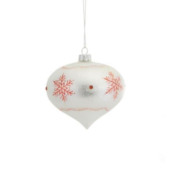 """3.25"""" Stylish Ivory Glitter Snowflake Glass Onion Christmas Ornament"""