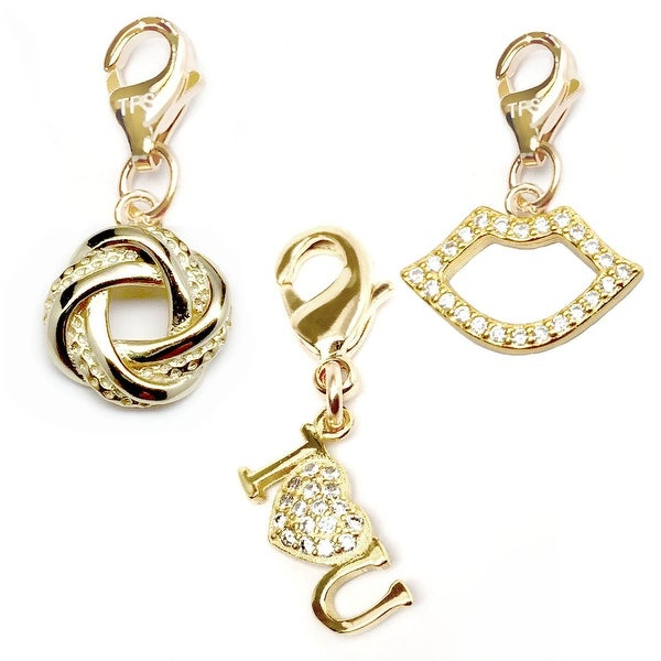 Julieta Jewelry I Heart U, Love Knot, Lips 14k Gold Over Sterling Silver Clip-On Charm Set