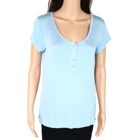 Echo Womens Sleepwear Mint Blue Size Medium M Sleepshirt Button Up Neck