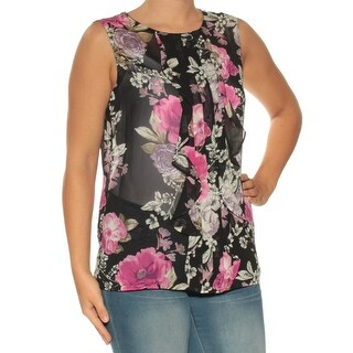 Womens Black Floral Sleeveless Crew Neck Top Size L